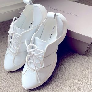 Charles & Keith women white sneakers size 37